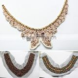 cheap price neck lace collars; bridal lace neck collars; handmade beads lace trimming for dress