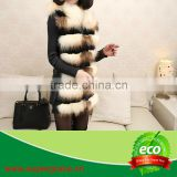 2014New Year Style Women's Natural Raccoon Dog Fur & Rabbit Pelt Leather Vest
