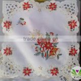 red flower candle bell western stye Christmas tablecloth patterns hand embroidery designs tablecloth lmzc1001(2)