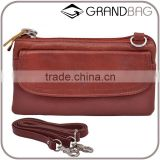 wholesale cow leather women shoulder bag clutch purse handbag with shoulder strap