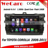 WECARO Factory OEM GPS Steering Wheel Pure Android 4.4 Car Multimedia Navigation System For Toyota Corolla 2006 - 2011