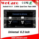 "Wecaro 6.2"" WC-2U6400 Android 4.4.4 car stereo touch screen 1 din 6.2 inch car dvd player WIFI 3G 16GB Flash"