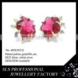 SLS Brand Wholesale 18K gold plated Britain Styles Statement Big Glass Ruby Stud Earrings For Ladies Fashion