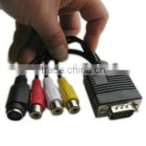 VGA to TV Converter Cable Adapter(S-Video AV RCA) with 2 Audio cable