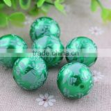 Christmas Green Pearl Flower Printed Pattern Bubblegum Beads for Chunky Necklace! YiWu Jewelry