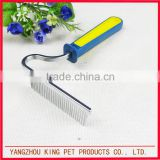 Animal grooming supplies plastic handle pet brush steel dog comb