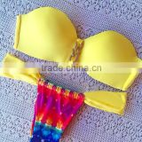 Push-up padded bikini Yellow runched halter bikini hot sexy swim wear cheeky string Bow bikini swimwear