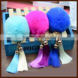 Factory wholesale fashion design lovely fox fur pompoms keychain/                                                                         Quality Choice