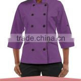 Women's 3/4 Sleeve Tailored Jacket Fit Chef Coat Plastic Buttons Kitchen Cooking Clothes