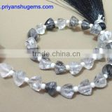 Black Rutilated Quartz Faceted Trillion Shape Briolette beads straight drilled AAA Grade quality product