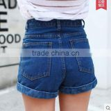 2015 new high waisted denim shorts female summer loose size female retro curling wide leg pants