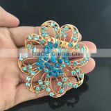 Best Quality Blue Rhinestone Brooch,Hollow Flower AB Rhinestone Brooch Pin For Bag