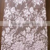 ivory beads and cord fabric lace wholesale/tulle mesh lace with factory price