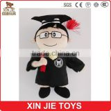 2015 new design graduate doll soft doll with gown stuffed graduate doll with graduate hat