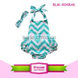 Wholesale fashion chevron climb a suit patriotic model baby bubble romper with headband