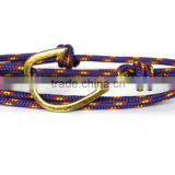 2MM Thin Paracord Survival Fish Hook Bracelet Adjustable Knot Wrap Anchor Hook Nautical Rope Bracelet