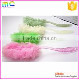 Big size Plastic long hand PE mesh sponge back bath body brush