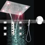 rainfall waterfall led shower system multi function led rain shower , hand shower and body shower jet led bath set