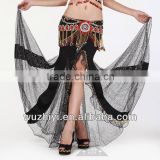 Nice Silk Expansion Beautiful Belly Dance Skirt, Black Tribal Belly Dance Skirt (QC1192)