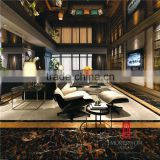 Foshan porcelain floor wall tiles and black gold marbles looks tiles floor