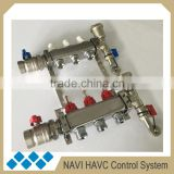 Stainless steel 3 port underfloor heating manifold with isolation valve, radiant heating mainfold with isolation valve