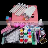 36W Lamp Light With 4 X 9W Tube 12 Color Acrylic UV Gel Nail Art Tools Sets