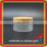 glass jar wooden lid for bamboo cream jar with milk jar GJ602R