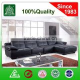 3059B real leather in black color lift headrest China leather corner sofa