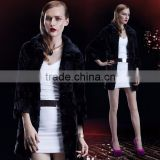 Lapel Collar Long Women Black Natural Mink Fur Coat
