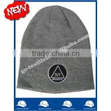 100% acrylic marl grey slouch beanie with flat embroidery logo no cuff with seam on back