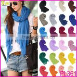Promotion 1Dollar Scarf 2014 New Fashion Women Girls Candy Color Crinkle Long Soft Scarf Wrap Shawl Stole