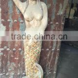 Hand made wooden carving mermaid, antique imitation wooden mermaid statue