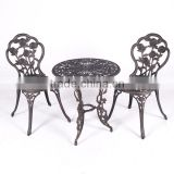 Customized cast Aluminum garden metal bistro set bronze rose carving metallic table and chair for hot sale