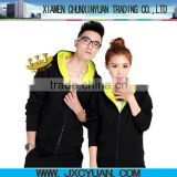 fashion custom zipper up cotton hoodies/sweatshirt with pocket made in china