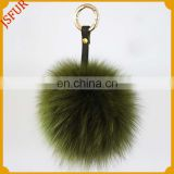 Fashion luxury genuine fox body fur pom poms keychain high quality bag charm accessory key ring wholesale