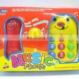 Plastic cartoon musical cell phone toy for kids