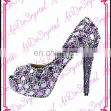 Aidocrystal 2016 fashion Ladies Pumps Shoes Italian purple crystal diamond bridal wedding jeweled High heel shoes and bag set