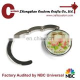Custom round print logo bag hanger/ purse hanger hook