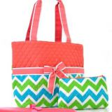 Full chevron printed diaper bag set with shoulder