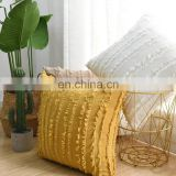 amazon hot sell Handmade Boho Macrame Ethnic Knit Tassel Solid Cotton Embroidered Cushion Cover For Sofa