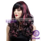 fashion inclined bang fluffy curly hair black and red big wavy wig