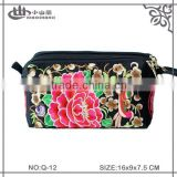 2015 Spring new design embroidered clutch/ flower emboidery phone bag/ embroidery coin wallet