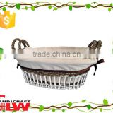 wicker basket made in China,set of 2 vertical weaving storage basket with ear handle and liner