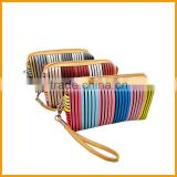 Bulk Wholesale Striped Leather PU Makeup Cosmetic Bag