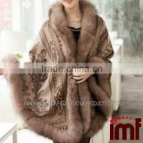 Cashmere and Fox Fur Trim Cape Korean Fashion Poncho