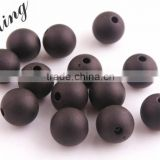 Black Color Wholesales Cheapest Price Fashion 6MM to 14MM Acrylic Transparent Matte Frost Beads for Kids Jewelry Necklace Making