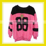 2016 Hot Sell Products Bros Baby Rinne 86 Printed Women Long Sleeve Pink Black Fluffy Sweater