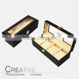 New Men Wrist Watch Display Storage Organizer Box Container 5 Cell Black Leather Glass Top Box