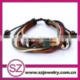 Fashion leather and string bracelet adjustable jewelry fashion jewellery import accessories