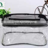 Wholesale promotional clear waterproof plastic cosmetic packaging handle zipper top pouch printed transparent pvc bag